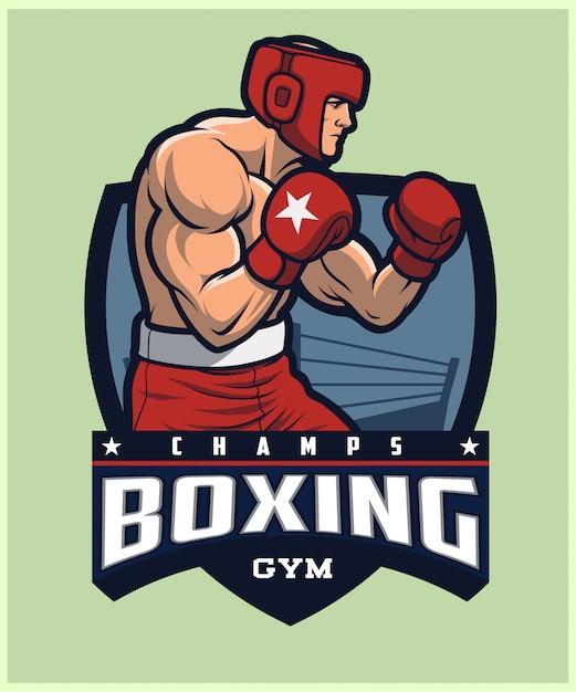Boxendes logo, tragendes kopfbedeckungstraining des boxers. Premium Vektoren