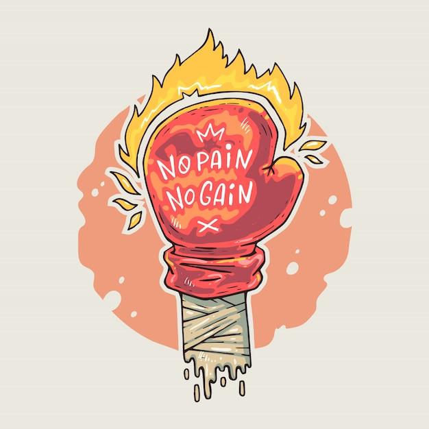 Boxhandschuh mit beschriftung und feuer. karikaturillustration in der komischen modischen art. Premium Vektoren