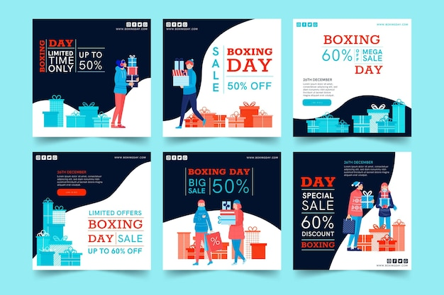 Boxing day ig post sammlung Kostenlosen Vektoren