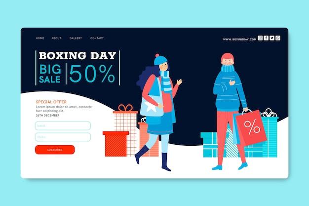 Boxing day landing page konzept Kostenlosen Vektoren
