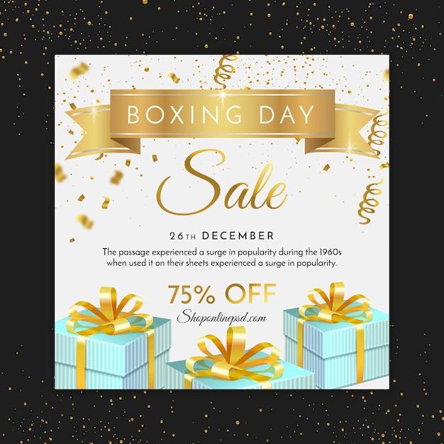 Boxing day mit geschenken quadratischen flyer Premium Vektoren