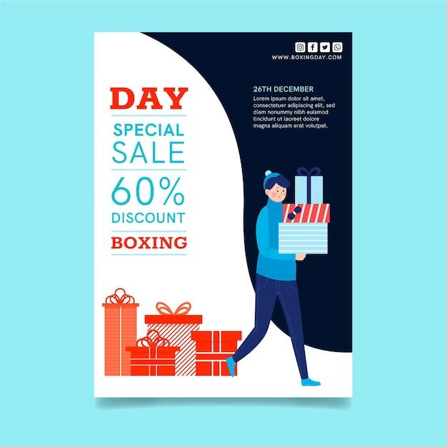 Boxing day poster a4 konzept Kostenlosen Vektoren