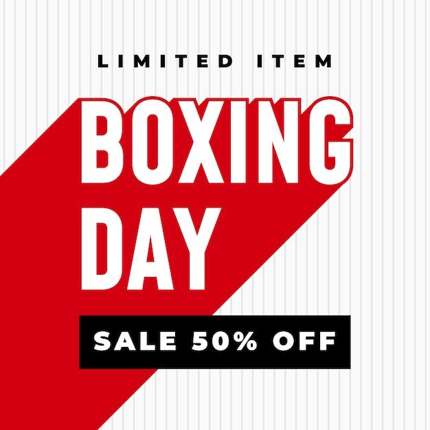 Boxing day sale 50% rabatt auf banner Premium Vektoren