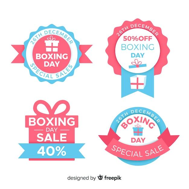 Boxing day sale abzeichen sammlung Kostenlosen Vektoren