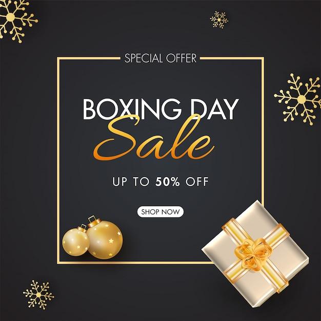 Boxing day sale banner mit 50% rabatt angebot Premium Vektoren
