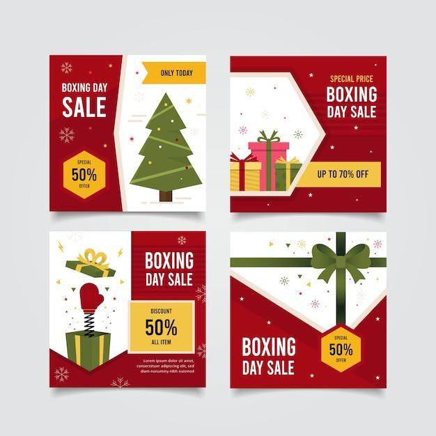 Boxing day sale instagram beitragssammlung Kostenlosen Vektoren