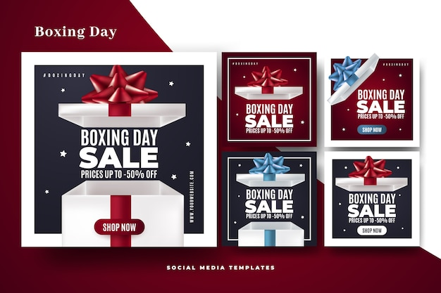 Boxing day sale instagram beitragssatz Kostenlosen Vektoren