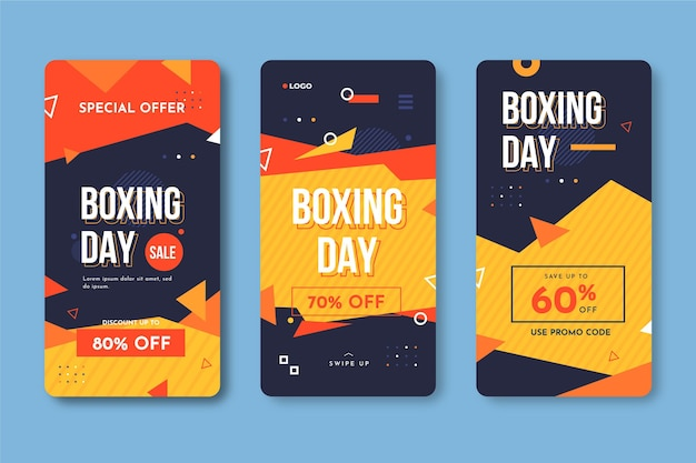 Boxing day sale instagram geschichte sammlung Kostenlosen Vektoren