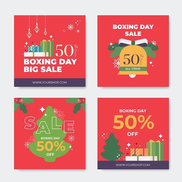 Boxing day sale instagram post sammlung Kostenlosen Vektoren