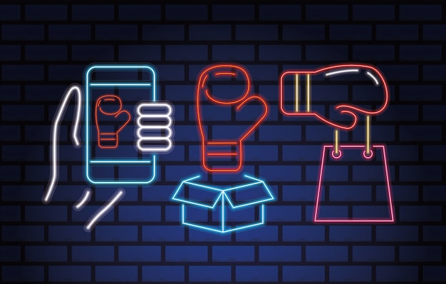 Boxing day sale neonlichter mit set icons vektor-illustration design Premium Vektoren