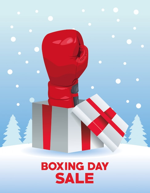 Boxing day sale poster mit handschuh in geschenk vektor-illustration design Premium Vektoren