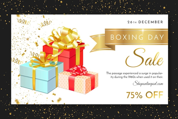 Boxing day web banner vorlage Premium Vektoren