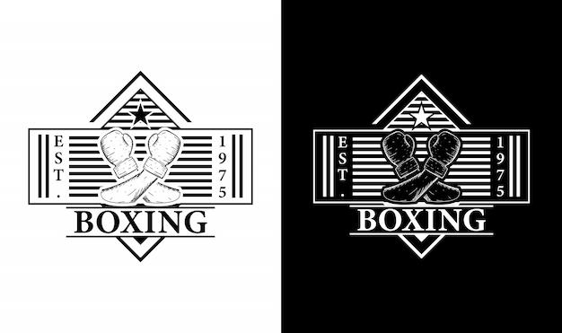 Boxing vintage retro logo design inspiration Premium Vektoren