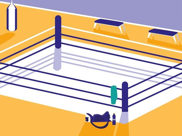 Boxring-szene Premium Vektoren