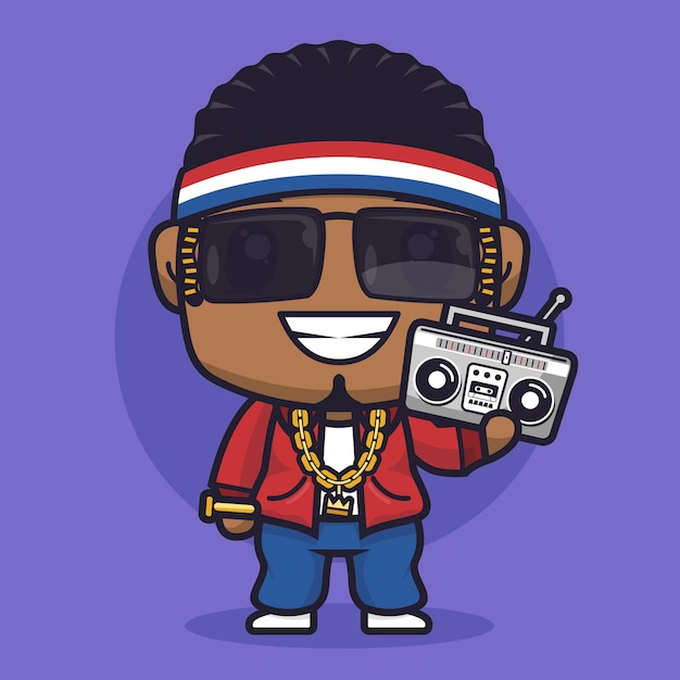 Boy rapper cartoon charakter illustration Premium Vektoren