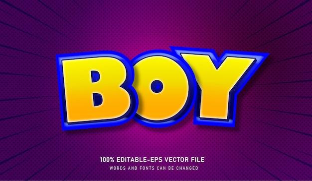 Boy text effect editable font mit gelbem und blauem hub und lila hintergrund Premium Vektoren
