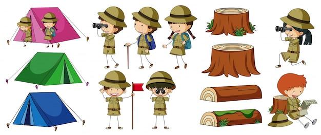 Boyscouts und campingelemente Kostenlosen Vektoren