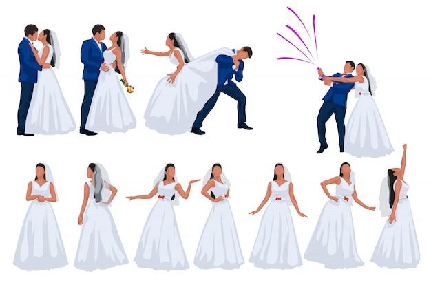 Bräutigam und braut auf weißem hintergrund eingestellt Premium Vektoren
