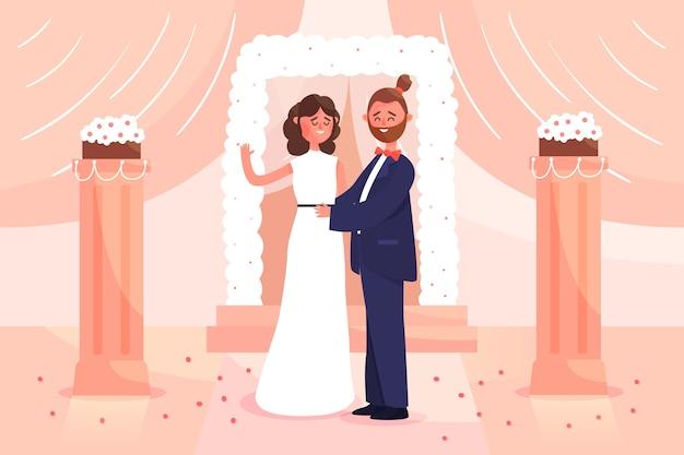 Bräutigam und braut, die illustration heiraten Kostenlosen Vektoren