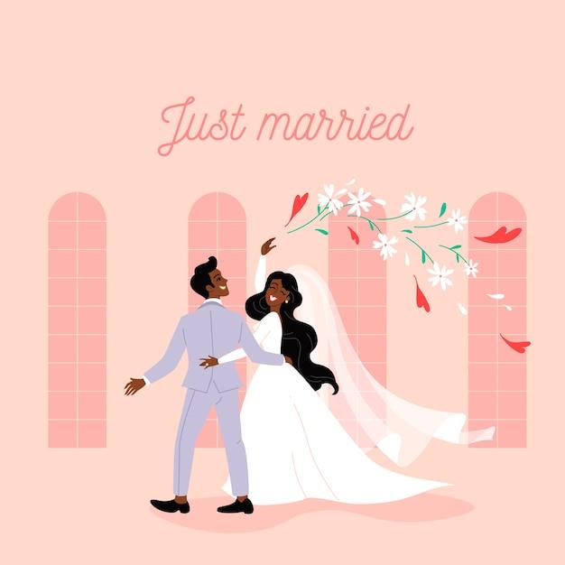Bräutigam und braut heiraten Kostenlosen Vektoren