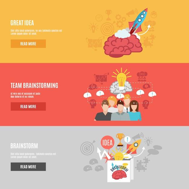 Brainstorm-banner eingestellt Premium Vektoren
