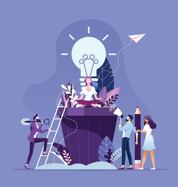 Brainstorming der geschäftsleute und kreatives ideenkonzept Premium Vektoren