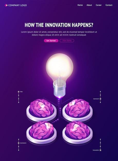Brainstorming idee isometrische landingpage, web Kostenlosen Vektoren
