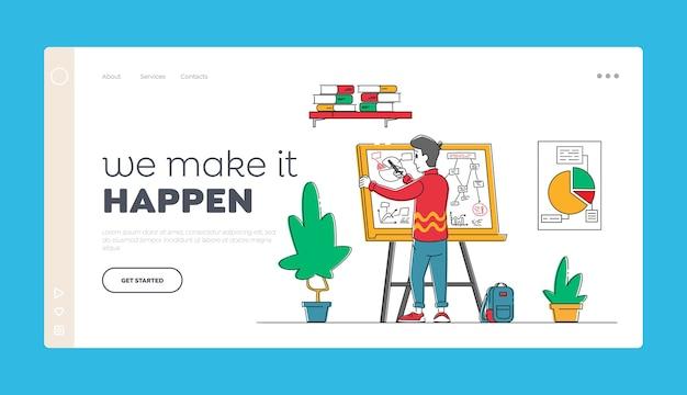 Brainstorming-ideenentwicklungsschema geschäftsmannstand vor whiteboard Premium Vektoren
