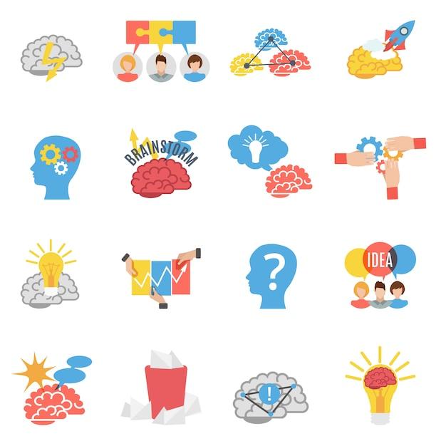 Brainstorming kreative flache icons set Premium Vektoren