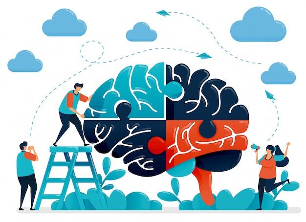 Brainstorming zum lösen von rätseln. metapher für teamwork und zusammenarbeit. intelligenz im umgang mit herausforderungen und problemen. Premium Vektoren
