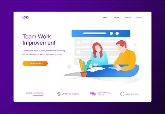 Brainstormingillustrationskonzept der geschäftsmann- und frauensitzung für website oder landung p Premium Vektoren