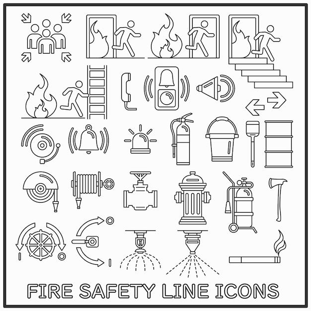 Brandschutzlinie ikonen eingestellt Premium Vektoren