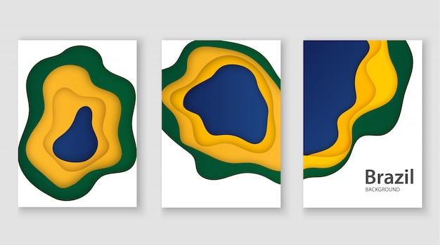 Brasilianische 3d-flagge im papierschnittstil. abstraktion im stil des kunstdesigns. verwendung für poster, flyer, druck. Premium Vektoren