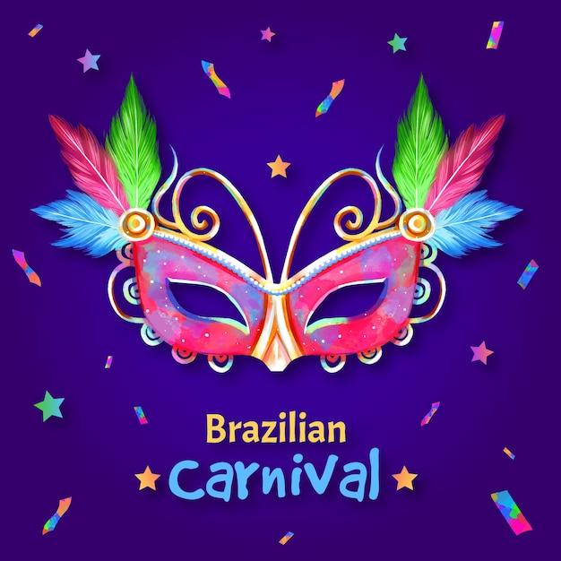 Brasilianische bunte maske und konfetti des aquarells Kostenlosen Vektoren