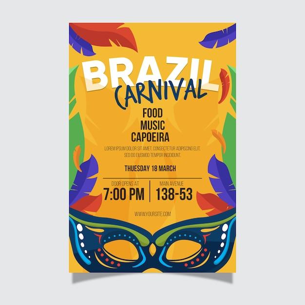 Brasilianische karnevals-plakatschablone des flachen designs Kostenlosen Vektoren