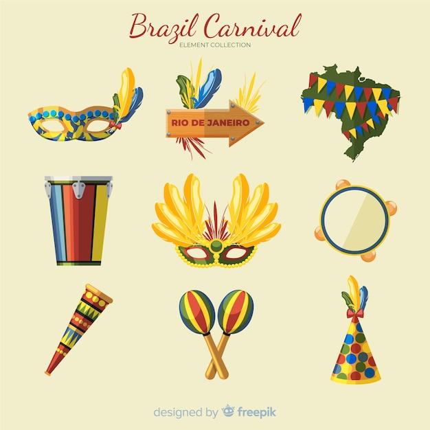 Brasilianische karnevalselementsammlung Kostenlosen Vektoren