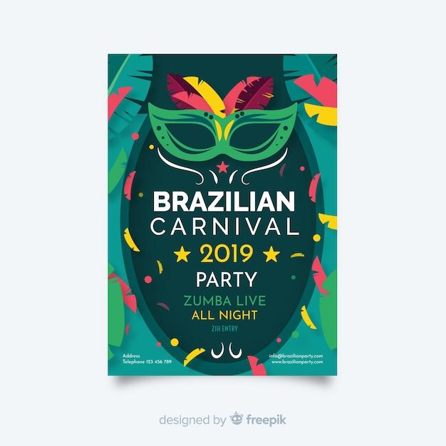 Brasilianische karnevalsflieger-partyschablone Kostenlosen Vektoren