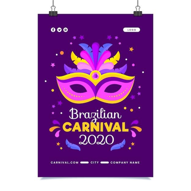 Brasilianische karnevalsfliegerschablone im flachen design Kostenlosen Vektoren