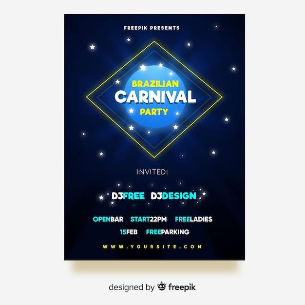 Brasilianische karnevalsparty-fliegerschablone Kostenlosen Vektoren