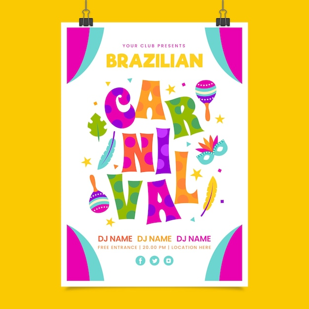 Brasilianische karnevalsplakatschablone im flachen design Kostenlosen Vektoren