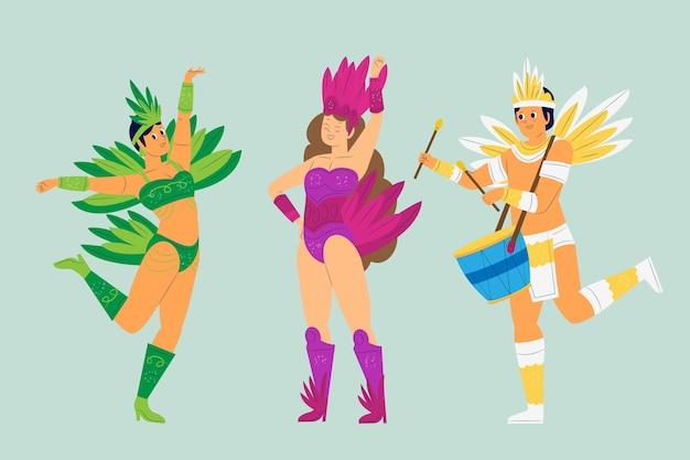 Brasilianische karnevalssammlungsleute, die mit federn und trommeln tanzen Kostenlosen Vektoren