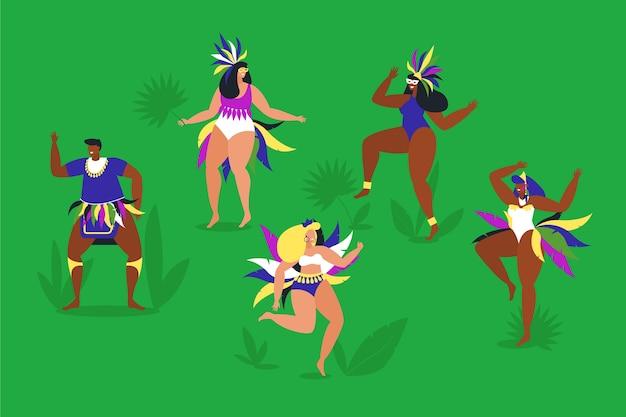 Brasilianische karnevalstänzer, die im gras spielen Kostenlosen Vektoren