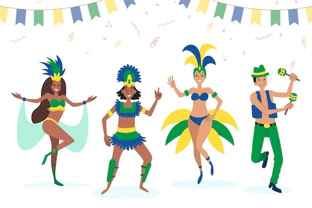 Brasilianische karnevalstänzer in trachten Kostenlosen Vektoren