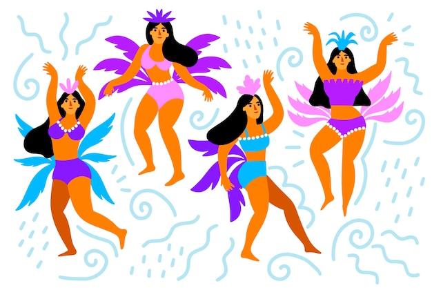 Brasilianische karnevalstänzer in verschiedenen positionen Kostenlosen Vektoren