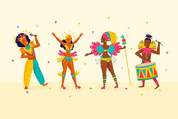 Brasilianische karnevalstänzer und konfetti funkeln Kostenlosen Vektoren