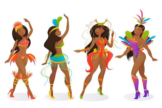 Brasilianische karnevalstänzersammlung Kostenlosen Vektoren