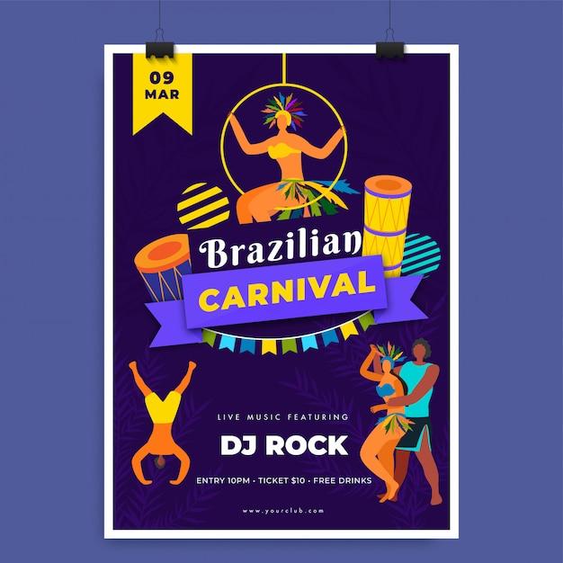 Brasilianische karnevalsvorlage. Premium Vektoren