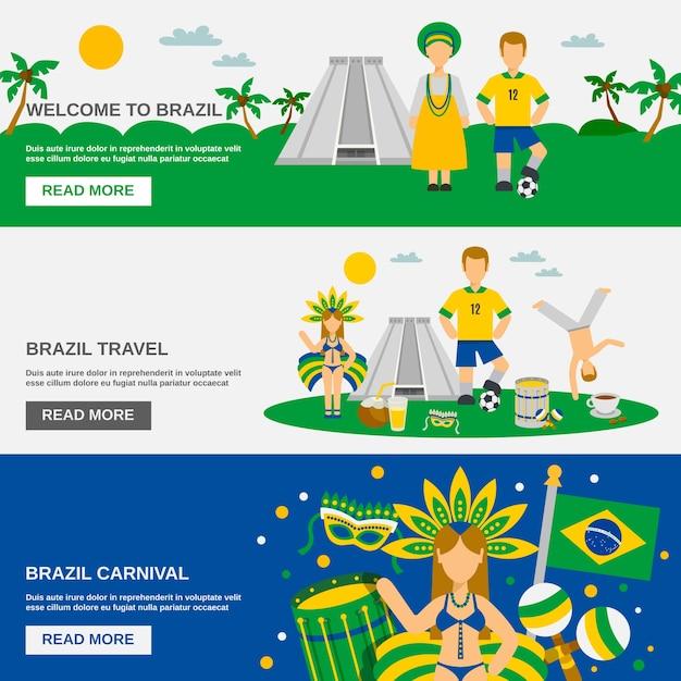 Brasilianische kultur 3 flache banner-set Kostenlosen Vektoren