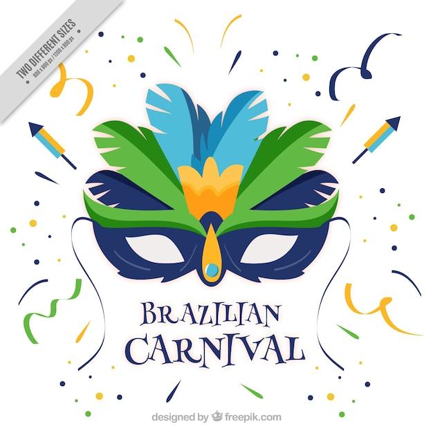 Brasilianischen karneval hintergrund mit flachen maske und konfetti Kostenlosen Vektoren