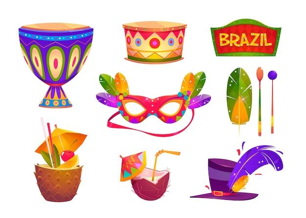Brasilianischer karneval elemente gesetzt Kostenlosen Vektoren